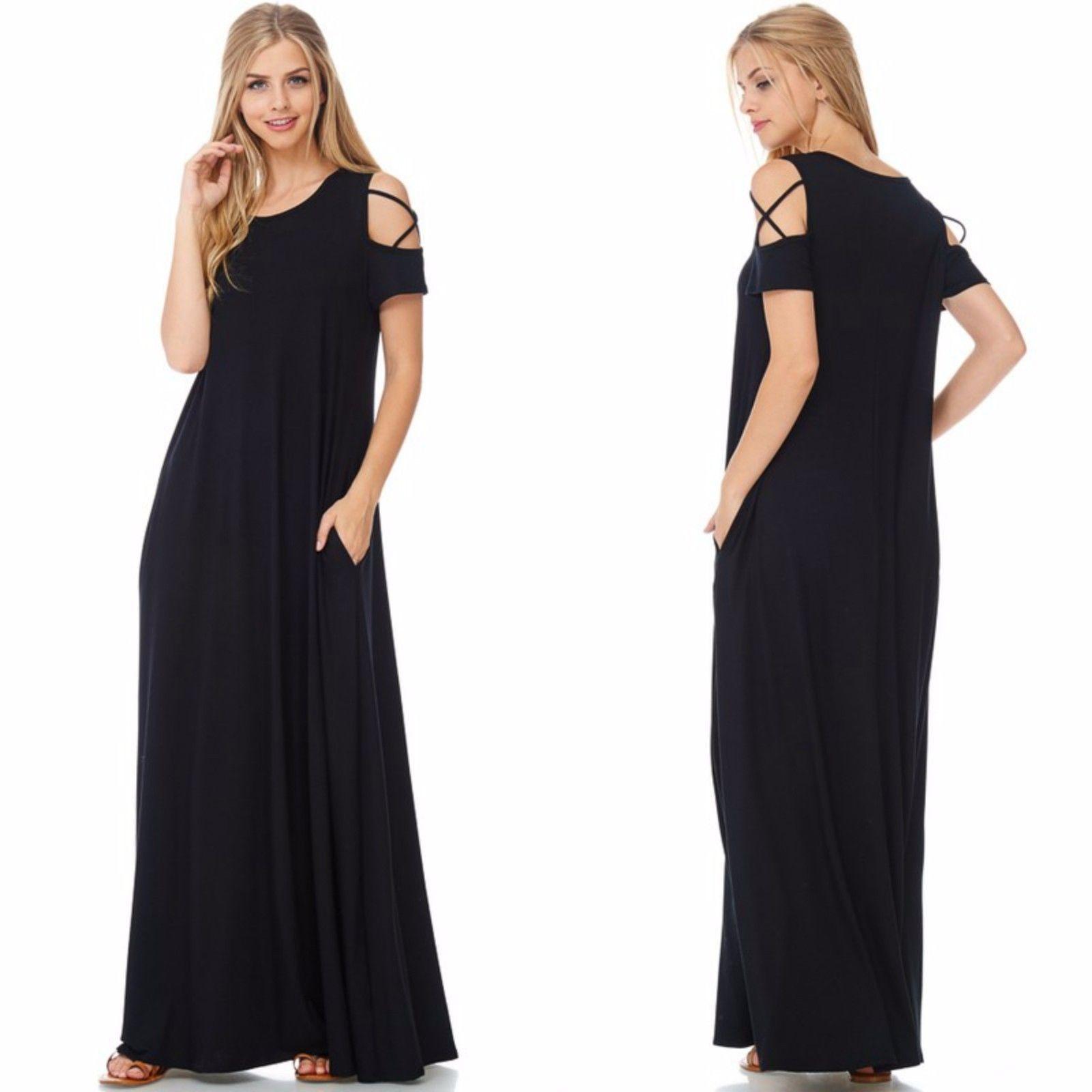 Boho ultra soft knit black cold shoulder flowy maxi dress wpockets