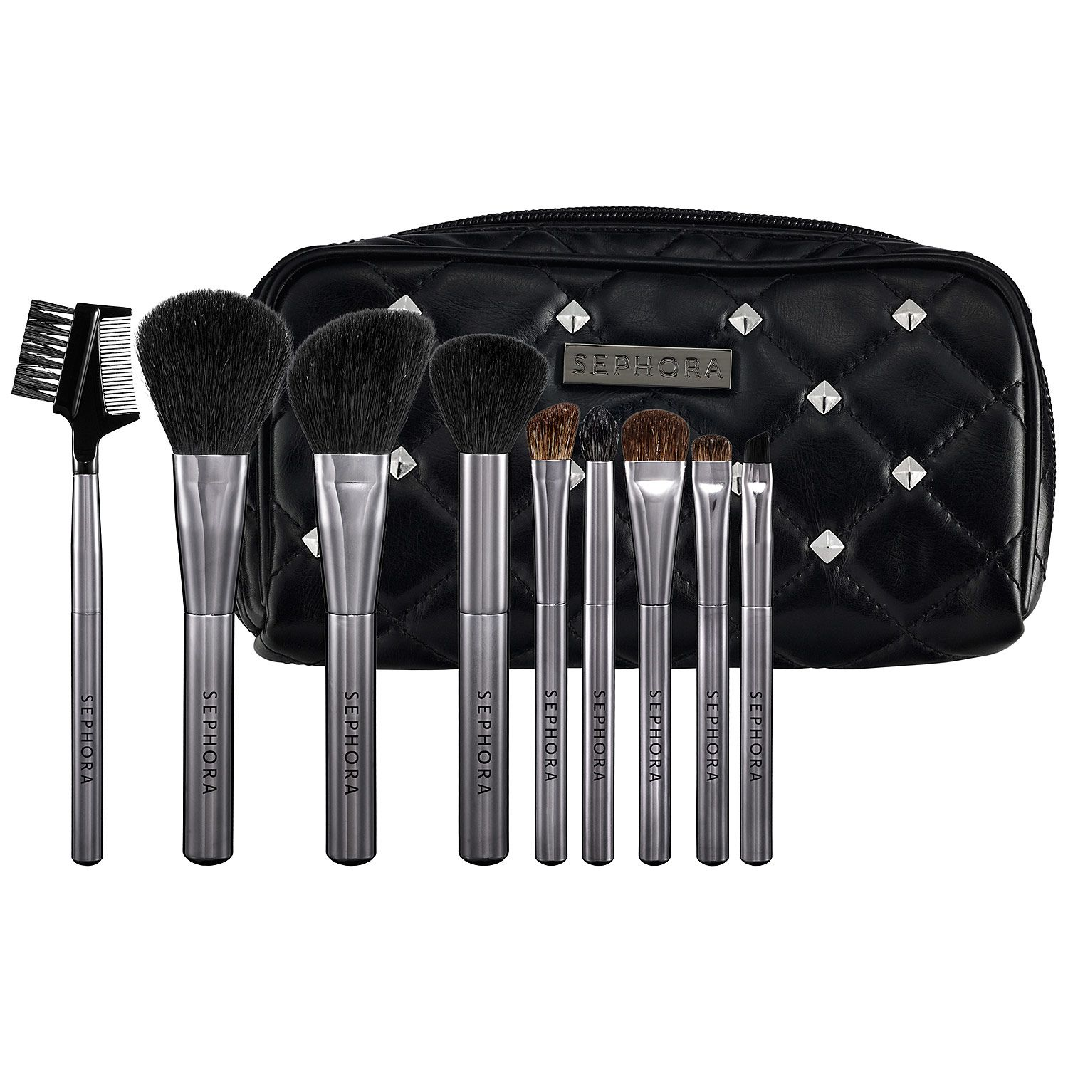 New at Sephora: SEPHORA COLLECTION Tough Love Studded Pouch Brush Set #brushes #brushsets