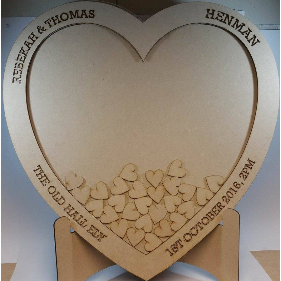 Wedding Drop Box Guestbook A Large Unique Wooden Heart Shaped Frame Alternative