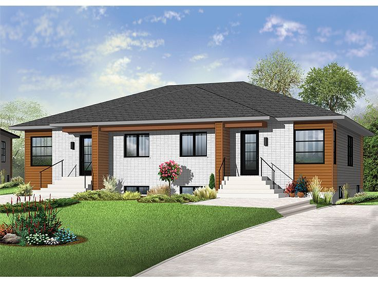 027m 0062 modern one story duplex house plan duplex for Unique duplex plans