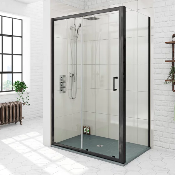 Mode Black 6mm Sliding Shower Enclosure With Grey Slate Effect Tray 1200 X 800 Shower Enclosure Stylish Bathroom Back To Wall Toilets