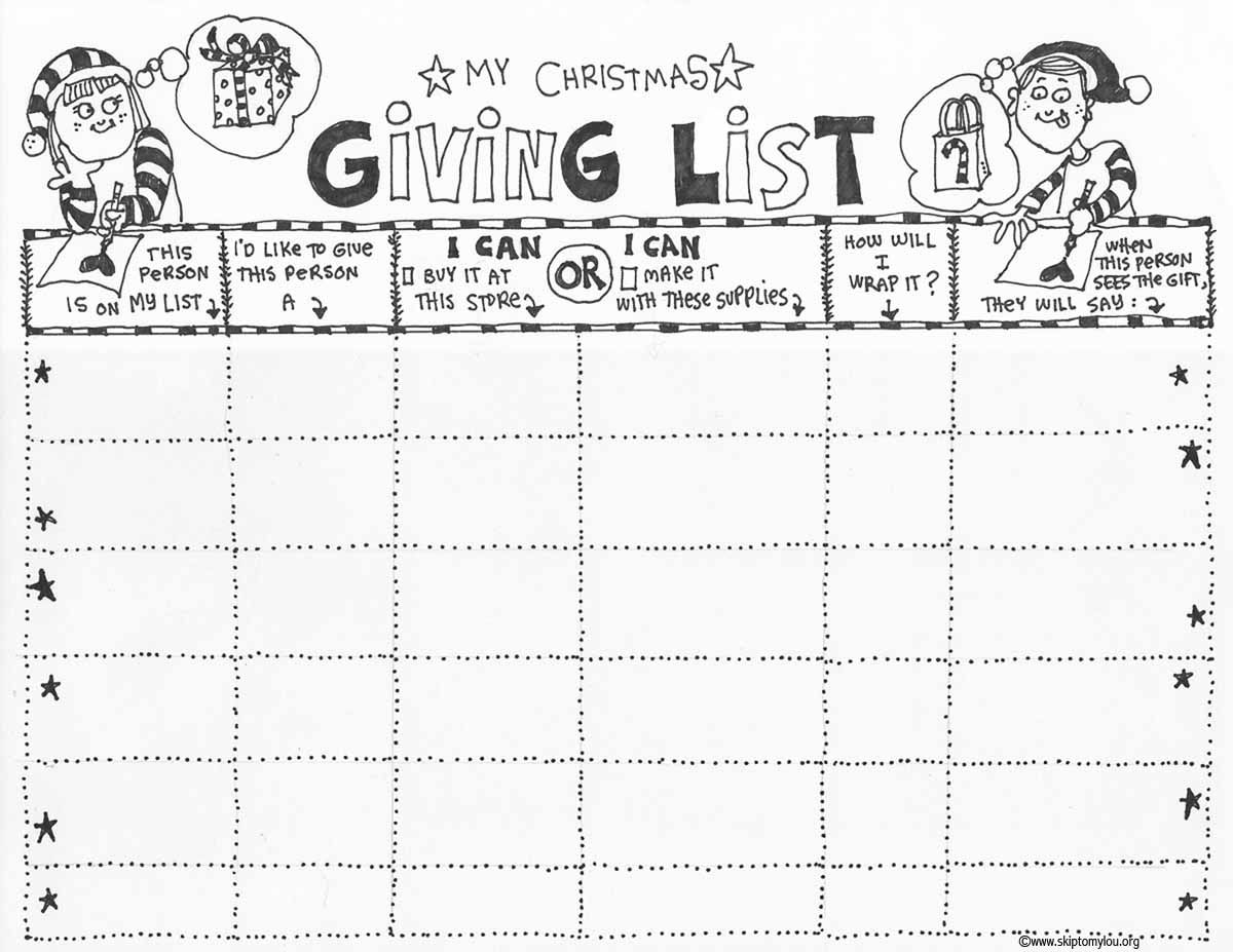 christmas list for giving free printable coloring sheet to help you keep track of gifts to make or buy and give to friends family coworkers etc