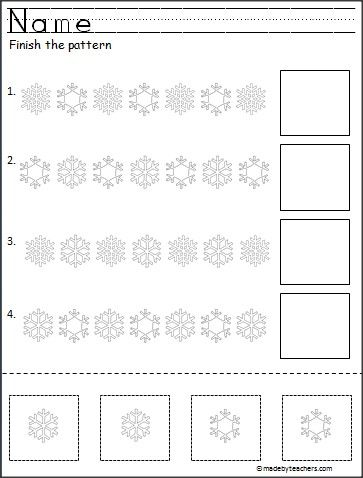 This is an easy snowflake cut and paste pattern activity