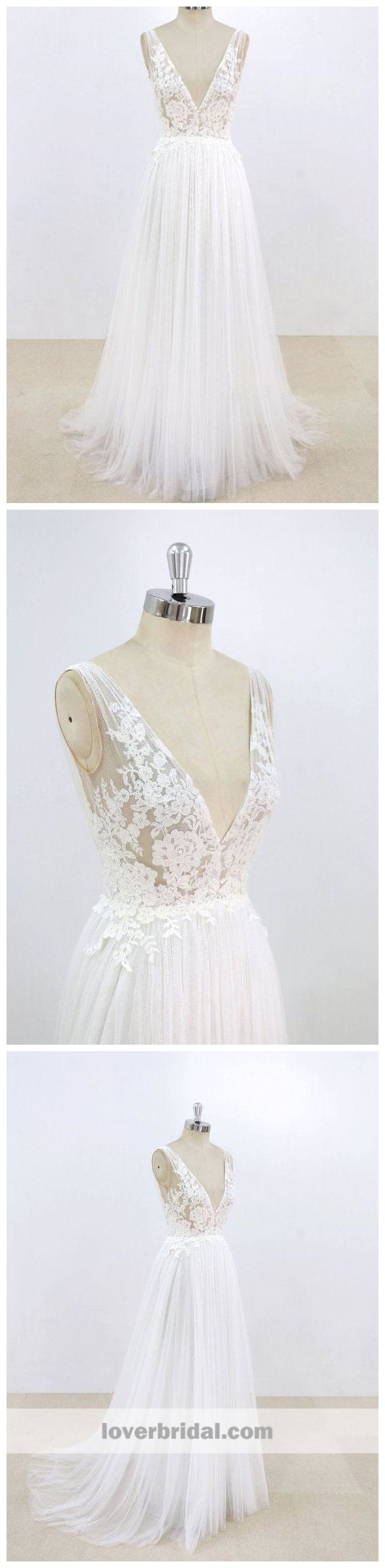 Simple and cheap wedding dresses  Simple Sexy Deep Low V Neck Small Aline Cheap Dresses For Wedding
