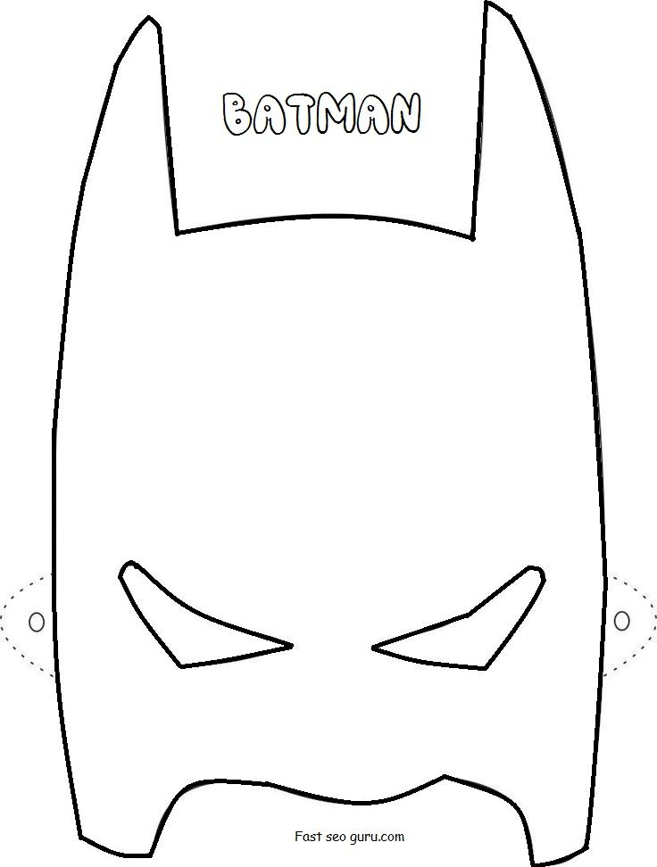 Printable Superheroes Batman Mask Coloring Pages  Batman Party