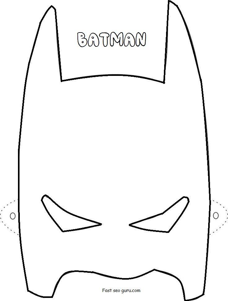 Printable Superheroes Batman Mask Coloring Pages Superhjalte
