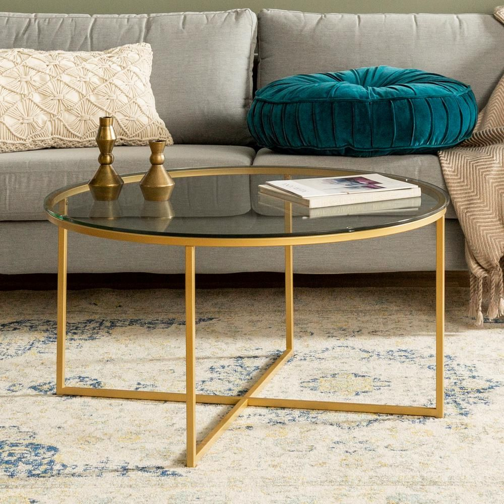 Walker Edison Furniture Company 36 In Clear Gold Medium Round Glass Coffee Table Hdf36alctggd The Home Depot In 2021 Coffee Table Round Coffee Table Living Room Coffee Table [ 1000 x 1000 Pixel ]
