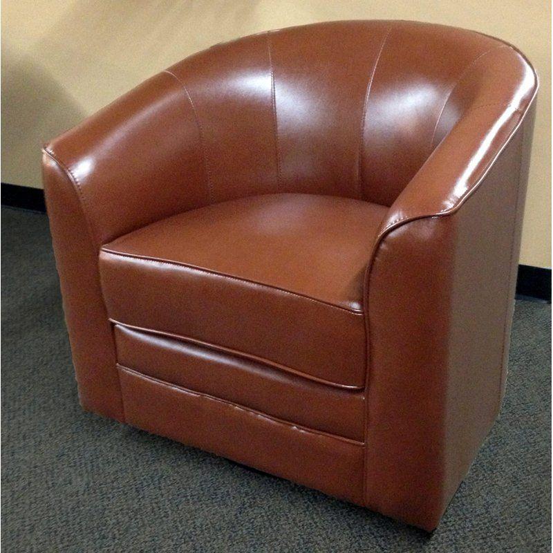 Emerald Home Furnishings Milo Bonded Leather Swivel Chair   Brown   $335.98  @hayneedle