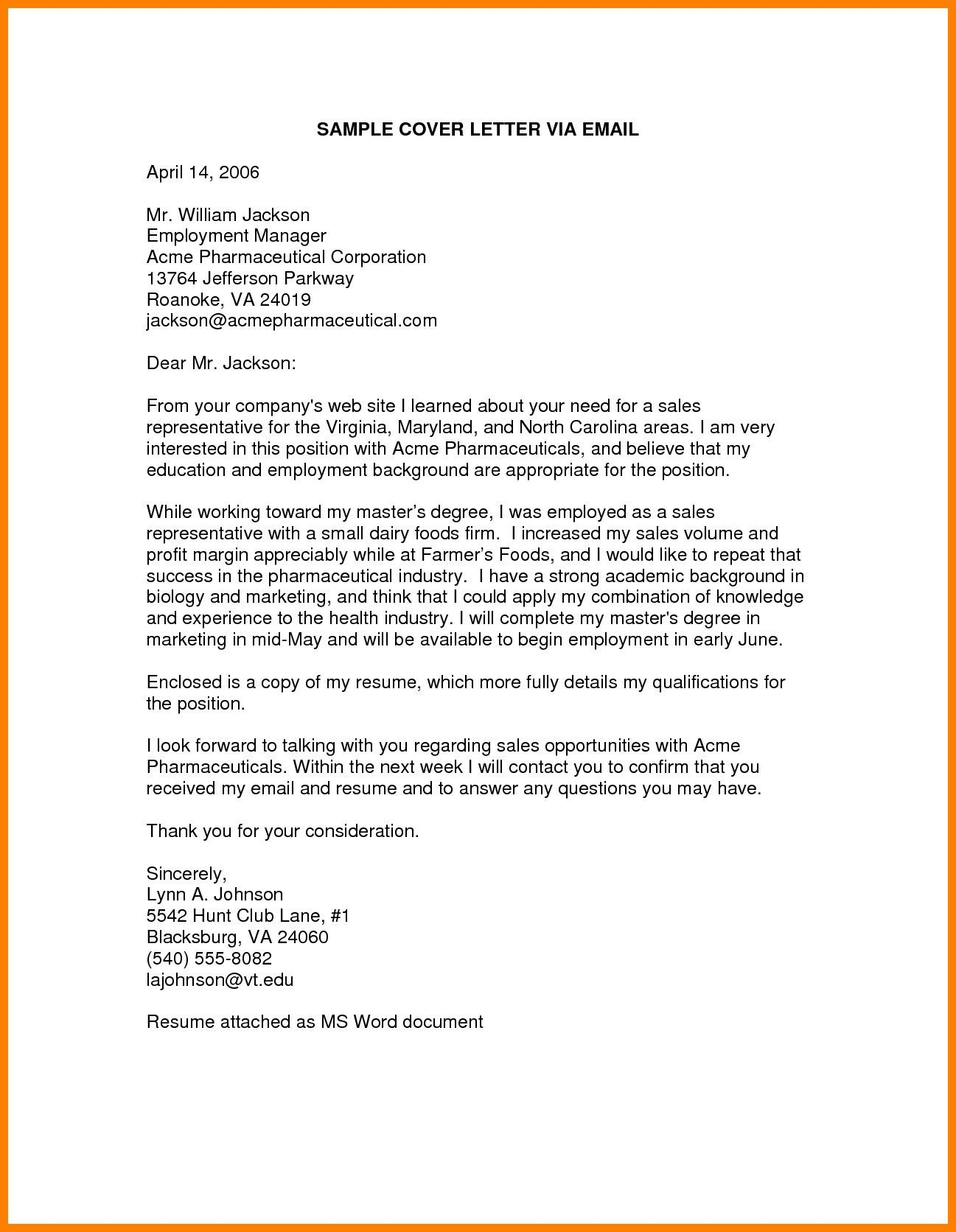 25 Email Cover Letter Cover Letter For Resume Job Cover Letter Job Application Cover Letter