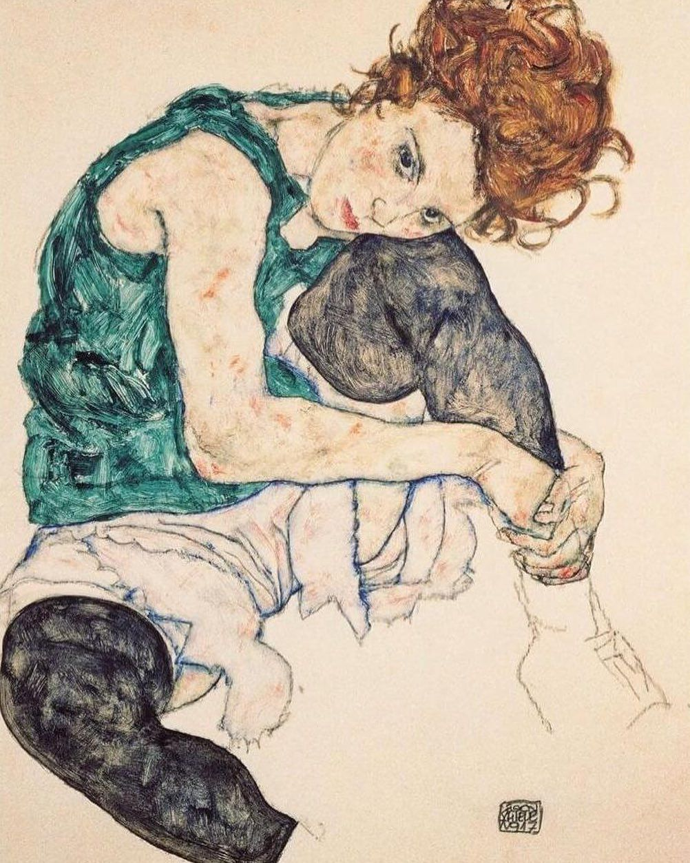 Adele Herms Egon Schiele Seated Woman with Legs Drawn Up Fine Art Print//Poster