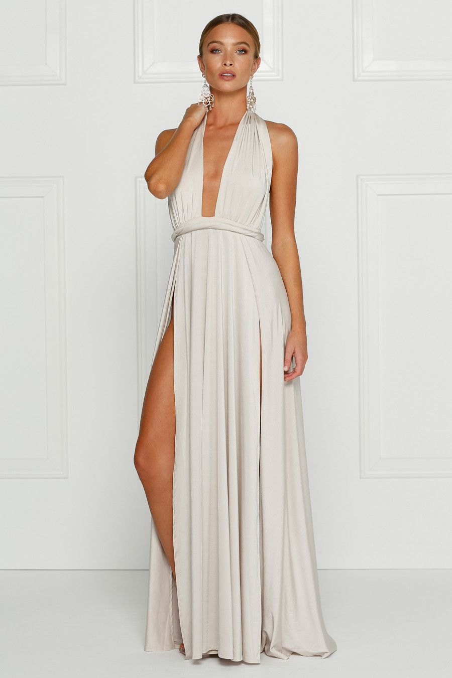 Alamour The Label CATALINA Ivory White Wrap Tie Formal Gown Dress ...