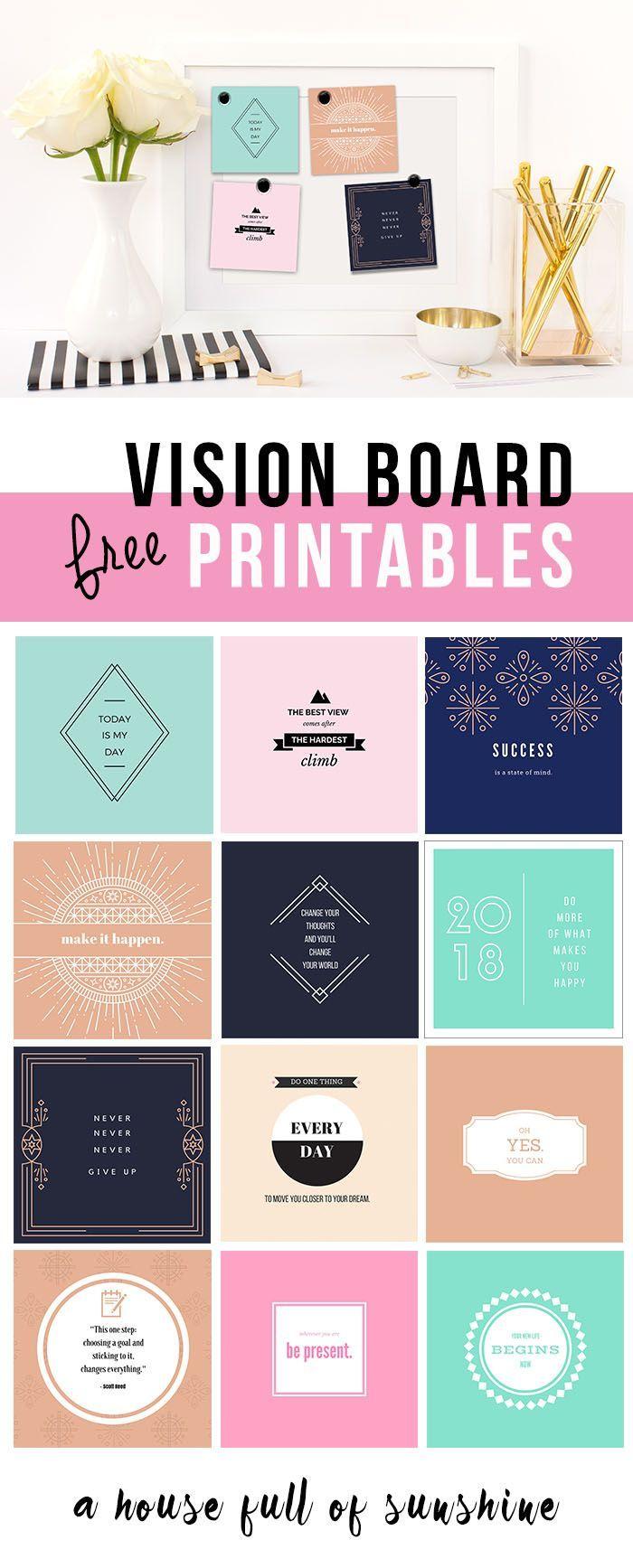 FREE 2018 Vision Board printables!