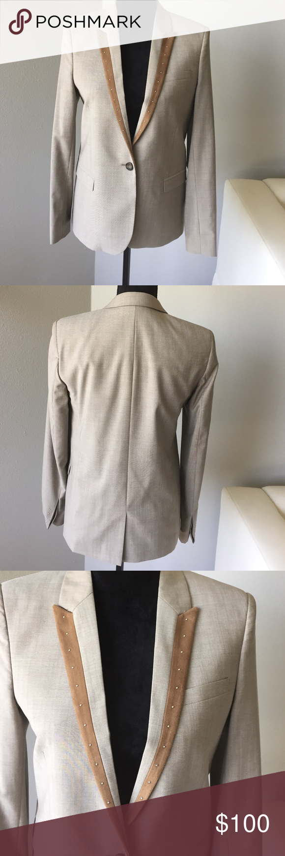 Blazer by The Kooples Beige blazer. Brown suede trim with studs. Studs on sleeve. Beautiful fit. Worn once only. The Kooples Jackets & Coats Blazers