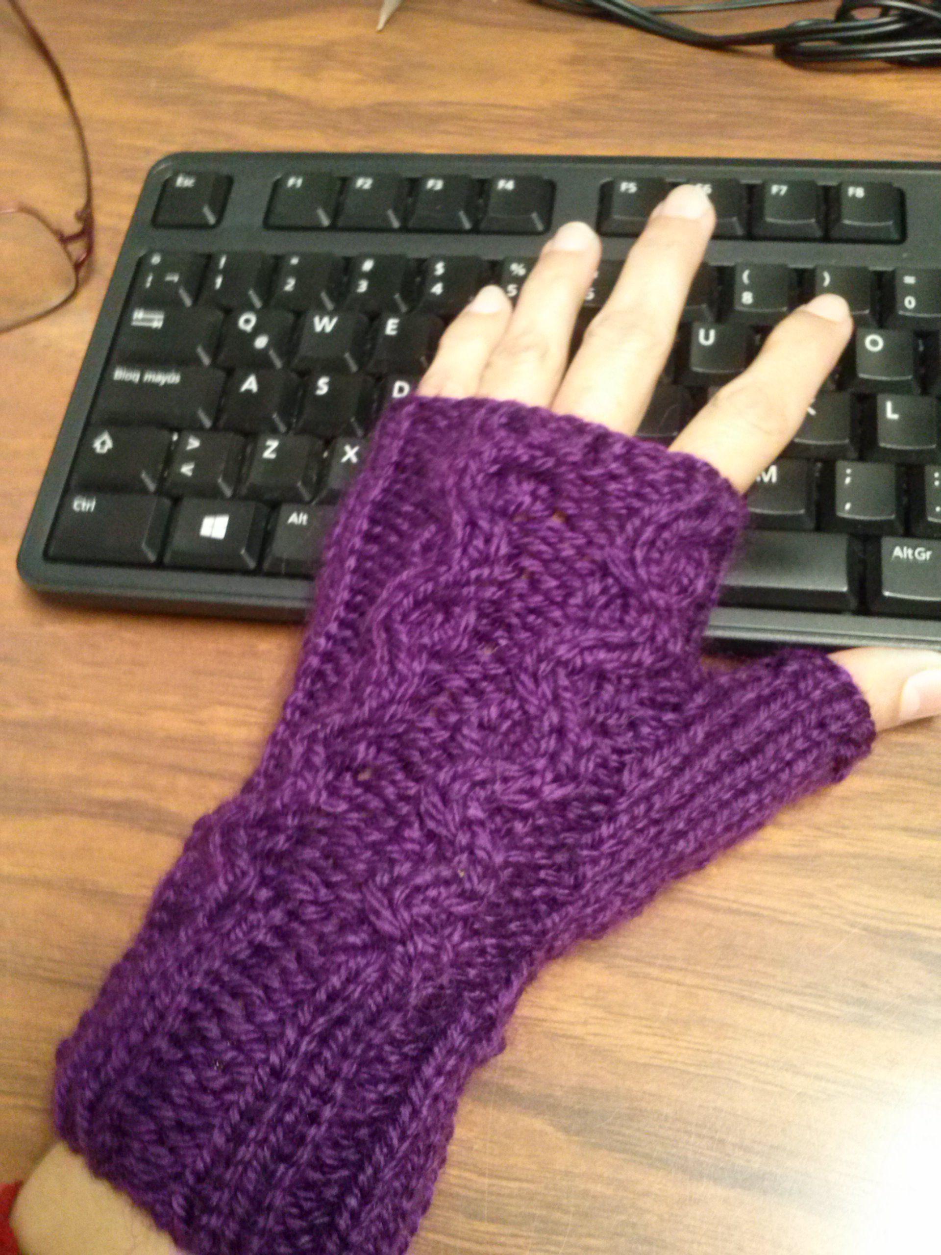 fingerless gloves/guantes sin dedos tejido con hilo de lana y ...