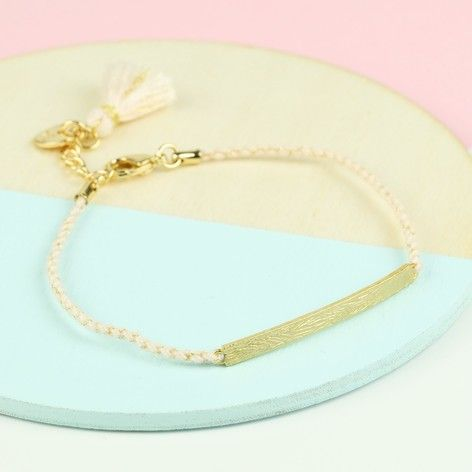 Lisa Angel Gold Curved Bar & Cord Bracelet from The Lovely Edit