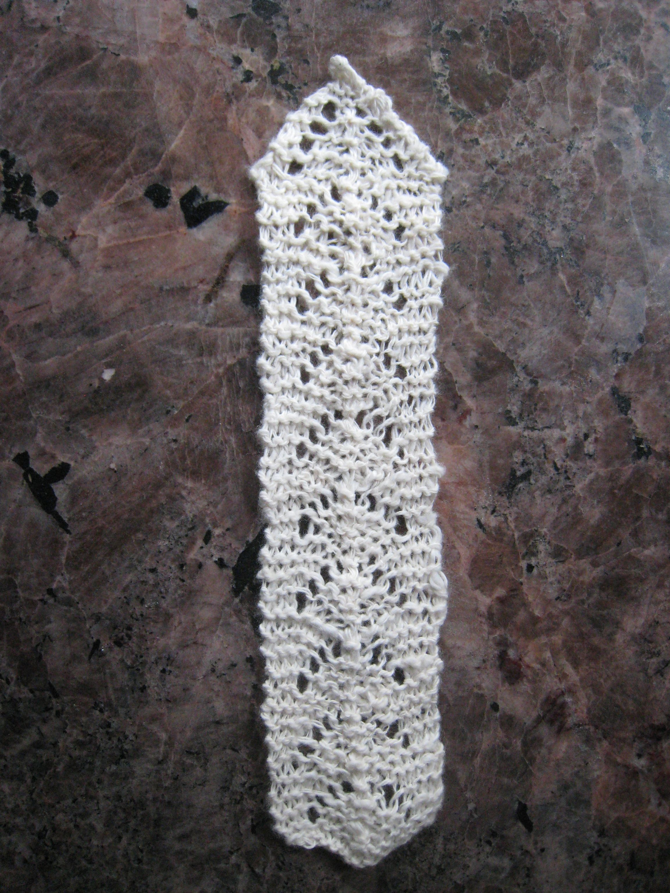 I made this bookmark out of cotton I spun. I gave it to my mom.