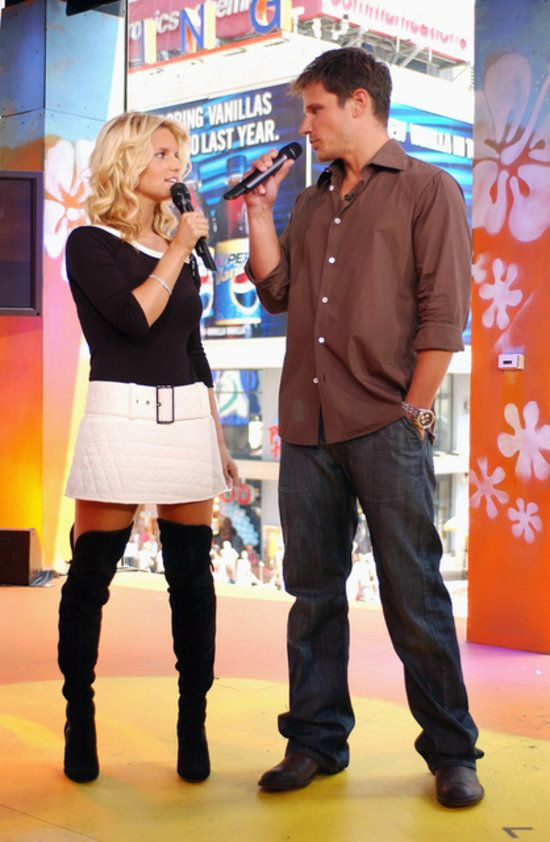 """Jessica Simpson  Nick Lachey promoted """"Newlyweds"""" on MTV's TRL in 2003"""