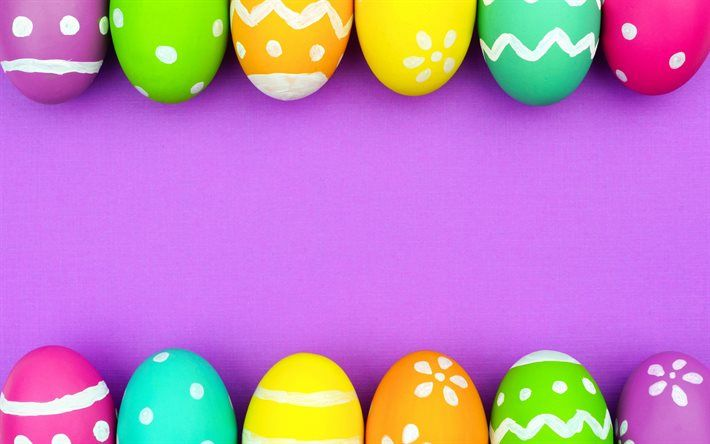 Download Wallpapers Easter Easter Eggs Purple Background Multi Colored Eggs Besthqwallpapers Com Easter Backgrounds Easter Wallpaper Easter Eggs