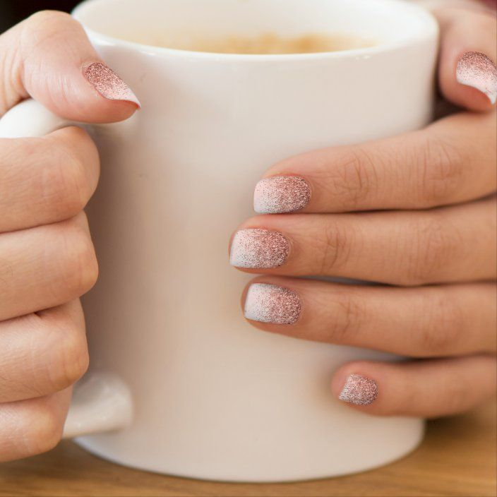 Rose Gold Glitter Pink Marble Minx Nail Art   Zazzle.com