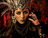 Vampire / Dark Faerie Queen Headdress - Leather, Feathers, Crystals and Chains - AtelierSidhe