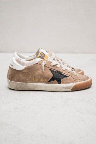 Black Star Ecru Suede Sneakers