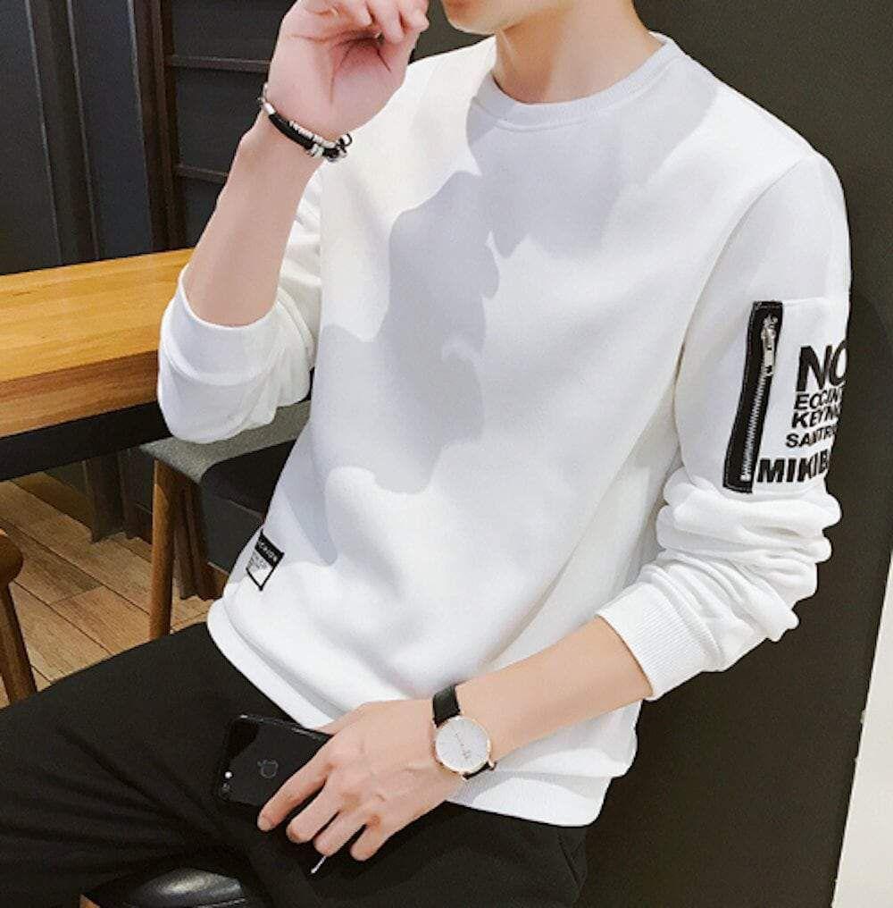 Sweat-shirt pour homme avec poche sur la manche – Blanc / L   – Products