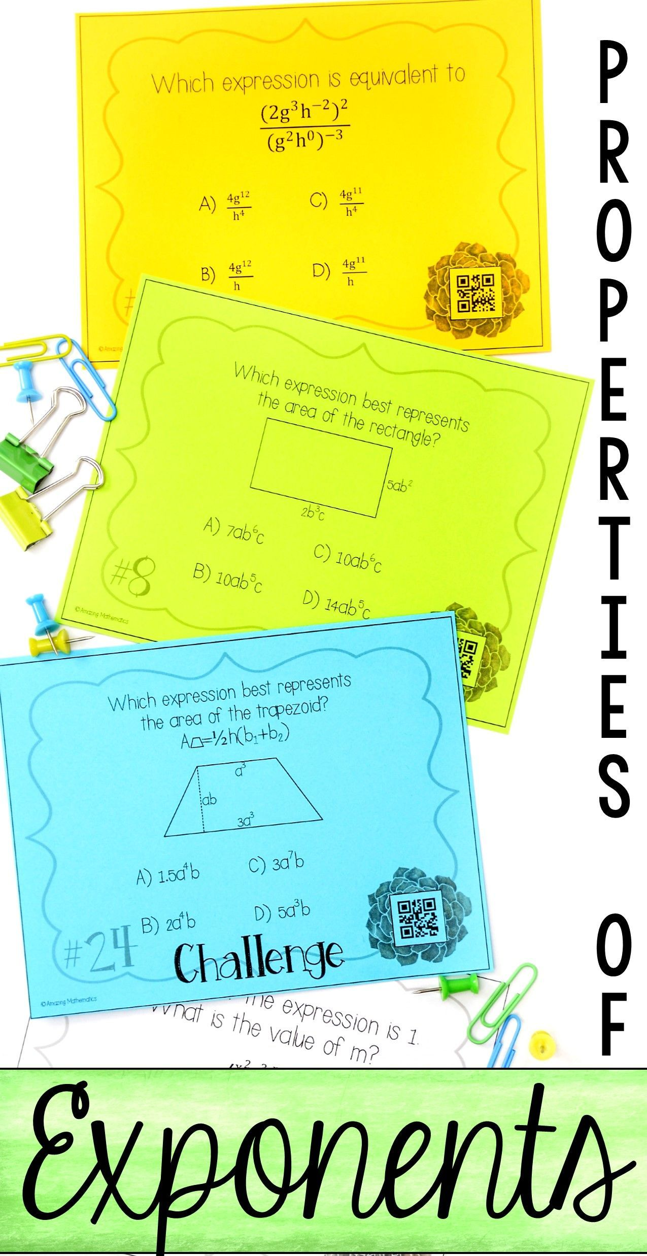 Properties of Exponents Task Cards   My TPT Items   Pinterest ...