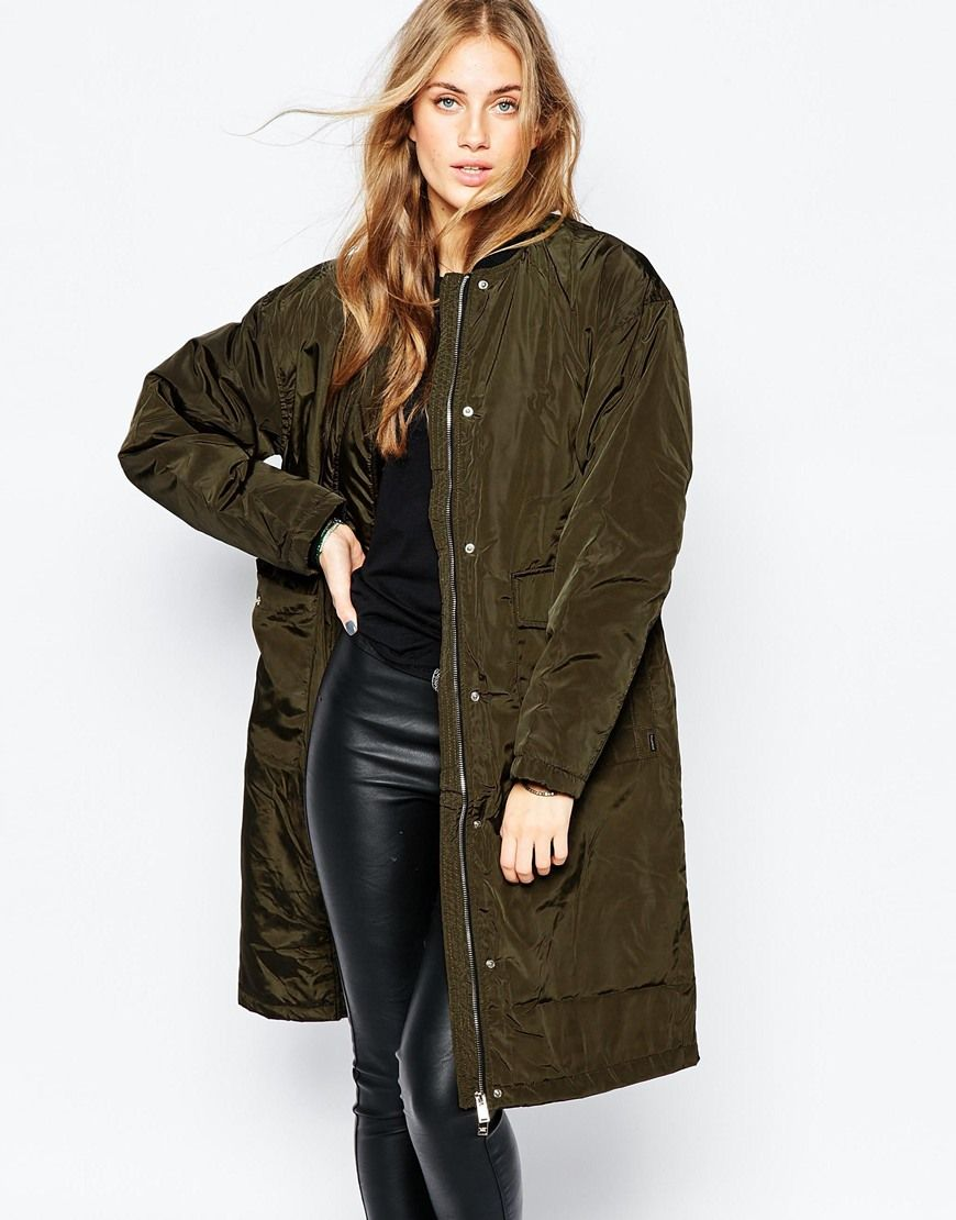 Pull Bear Longline Bomber At Asos Com Latest Fashion Clothes Bomber Jacket Women Winter Coats Women [ 1110 x 870 Pixel ]