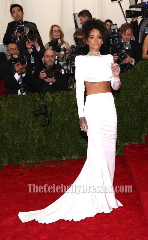 Rihanna White Two Piece Evening Dress 2014 Met Gala Red ...