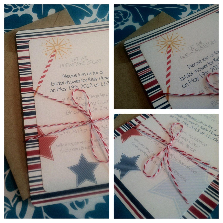 4th of July Wedding invitation, bridal shower invitation, July ...