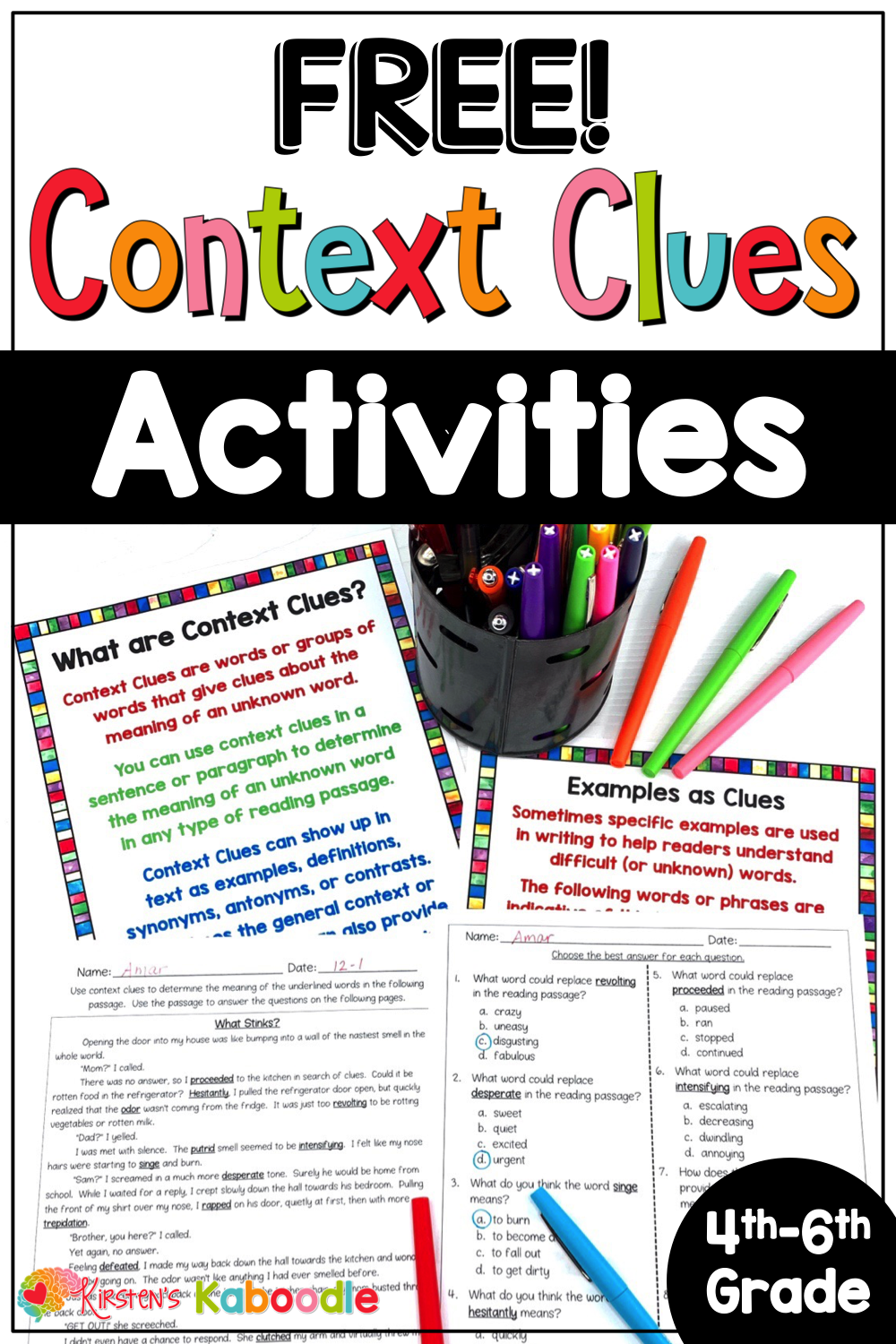 FREE Context Clues Anchor Charts and Activities   Context clues worksheets [ 1500 x 1000 Pixel ]