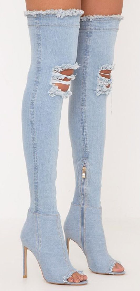 b96025a9a32 Distressed Denim Peep Toe Sexy Stiletto Boots - Super cute ripped faded  jeans style womens thigh boots can be worn with casual clothing or part of  a ...