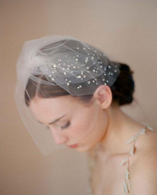 2013 New fashion fine Diamond stud short wedding veil Birdcage Ivory Bridal Vei  photography props wedding dress accessories-in Bridal Veils...