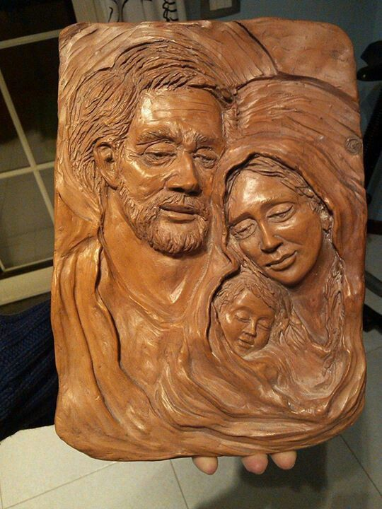 The holy family,pottery hand made,Claudia Altavilla 2015