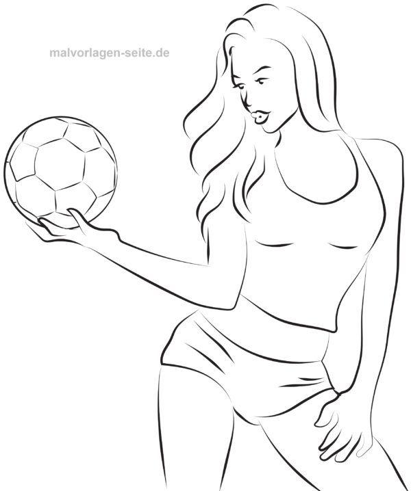 malvorlage model mit fußball  kostenlose ausmalbilder