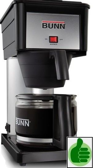 Bunn Coffee Maker brews a fresh pot of coffee in less than 3 minutes...hot water is always ready in the resevoir. Coffee tasts great, VERY Hot, and priced right at around $99.00 for the 10 cup Bunn-O-Matic