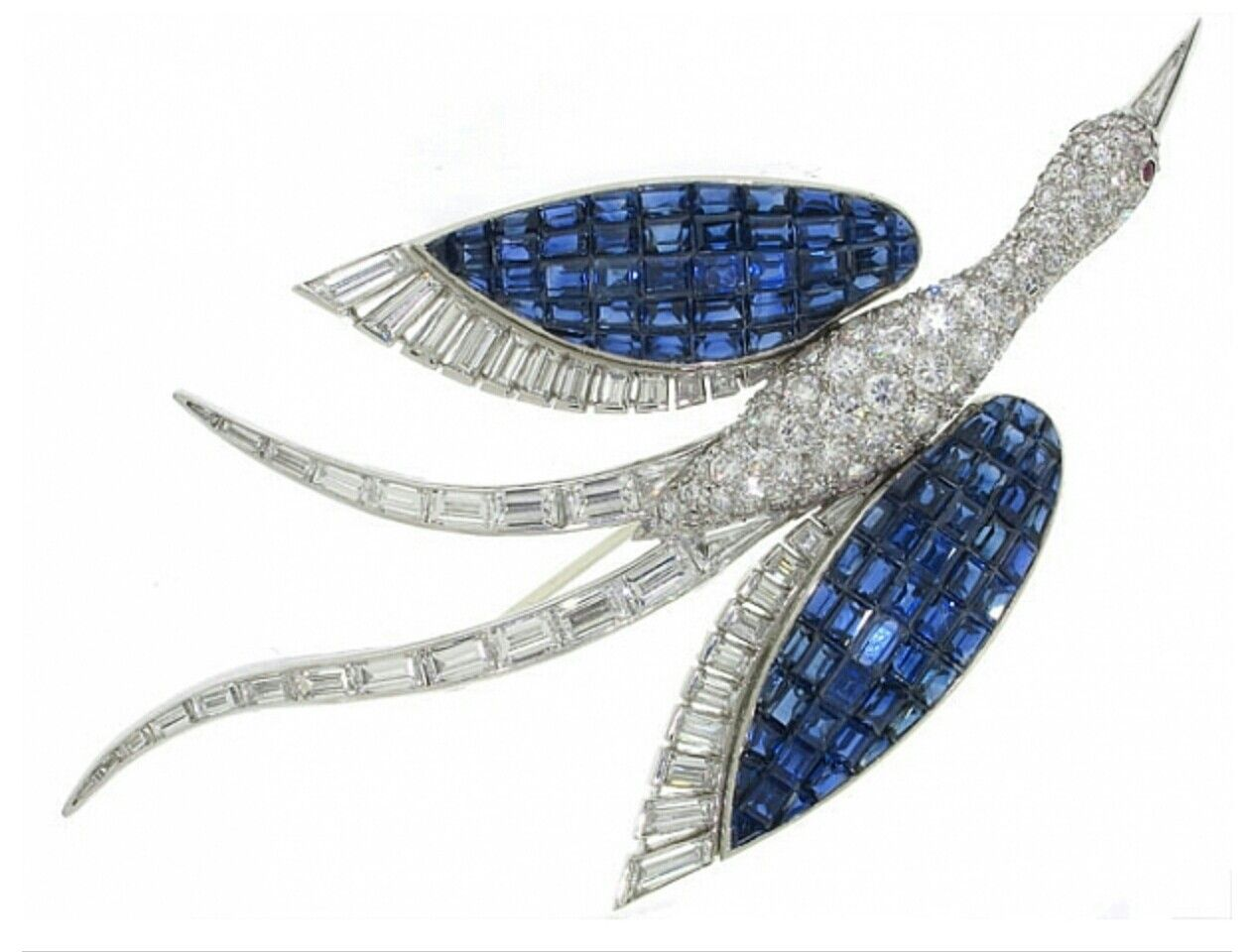 Invisibly-set Sapphire and Diamond brooch