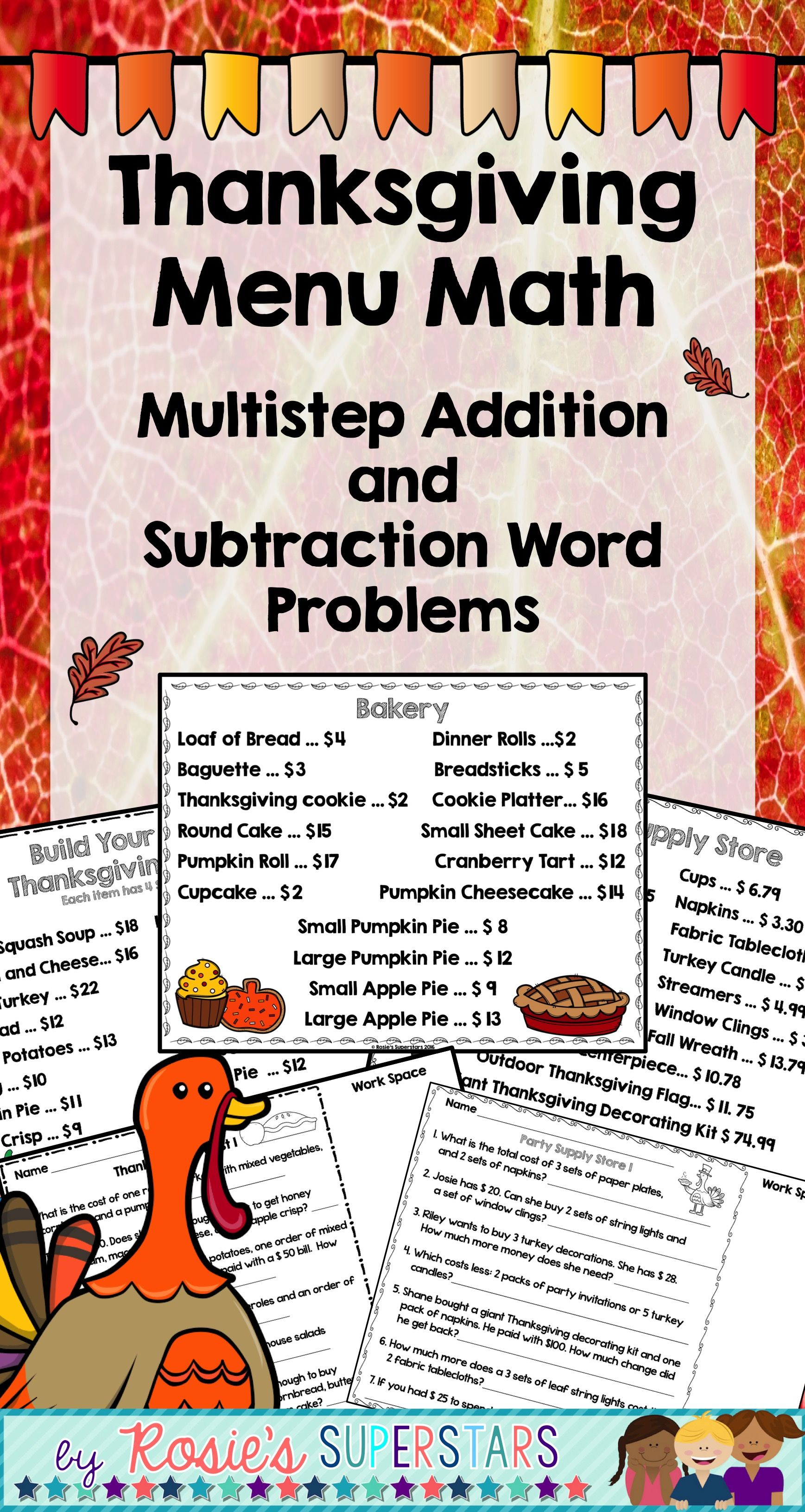Thanksgiving Menu Math Multistep Addition And Subtraction