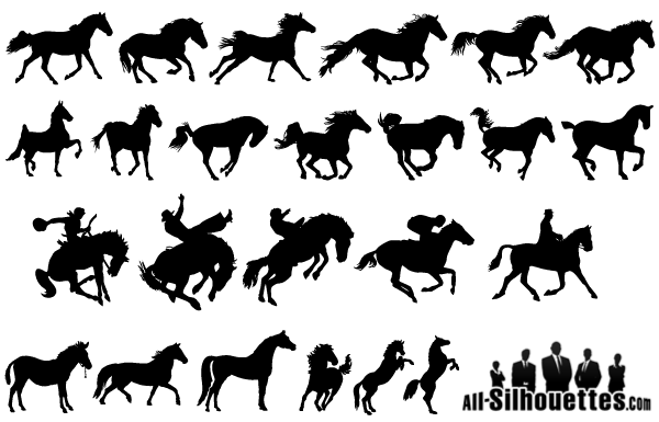 Free Vector Horse Silhouettes Pack Horse Silhouette Silhouette Free Horses