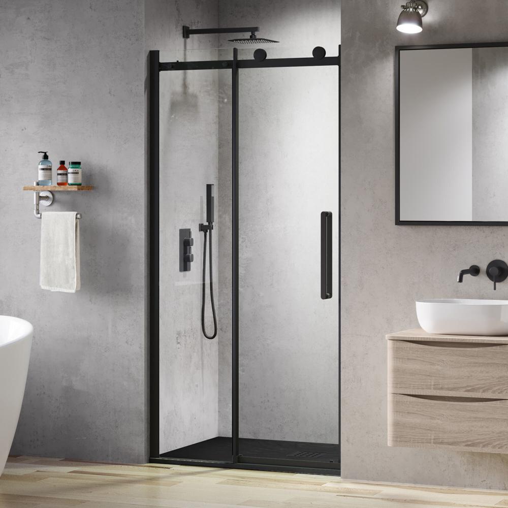Black Shower Door 1000mm Frameless Sliding Shower Doors Soak Com Black Shower Doors Sliding Shower Door Quadrant Shower Enclosures