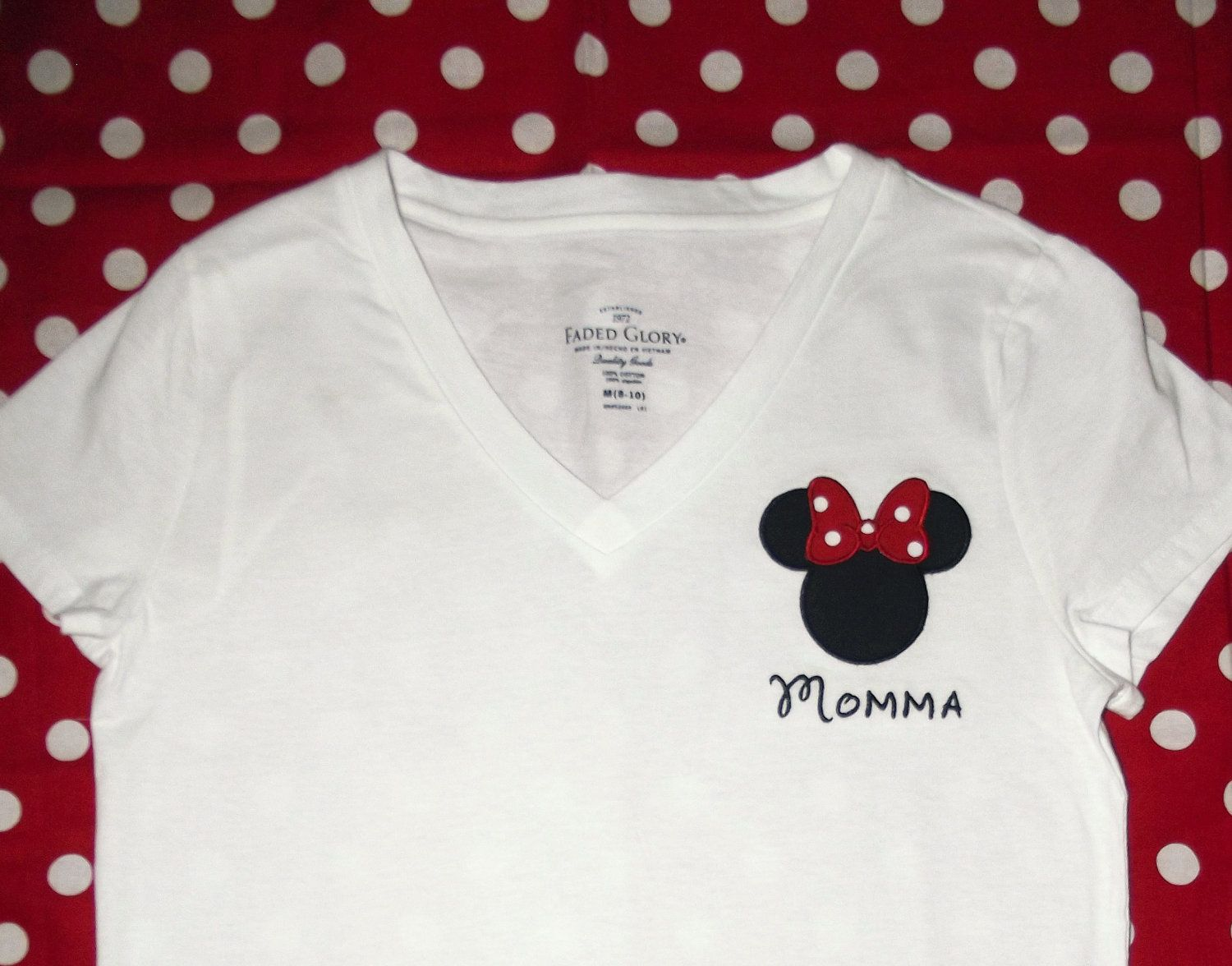 v Neck Minnie Mouse Head with personalization by magicalvacation, $24.99. Disney  ShirtsDisney OutfitsCustom ShirtsEmbroidery ...