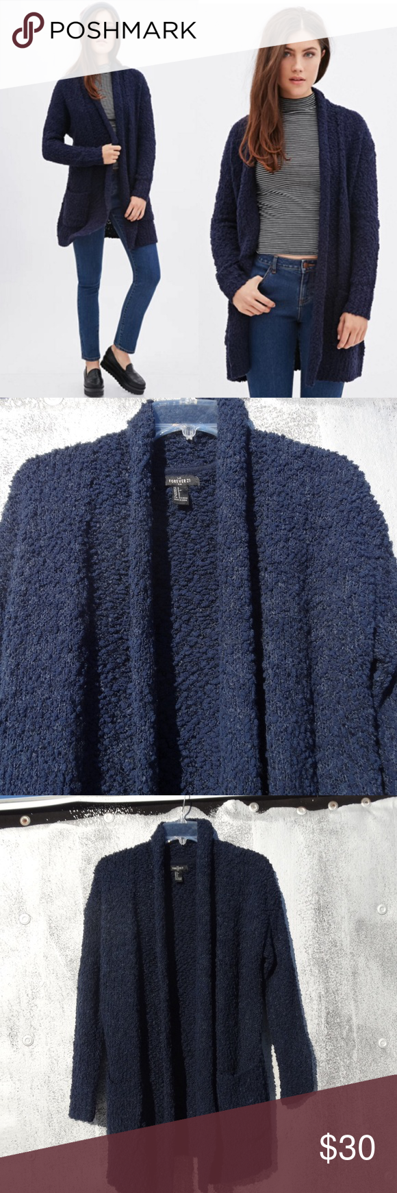 Chunky Knit Longline Cardigan. Open front cardigan in an excellent condition. Only worn once. Forever 21 Sweaters Cardigans