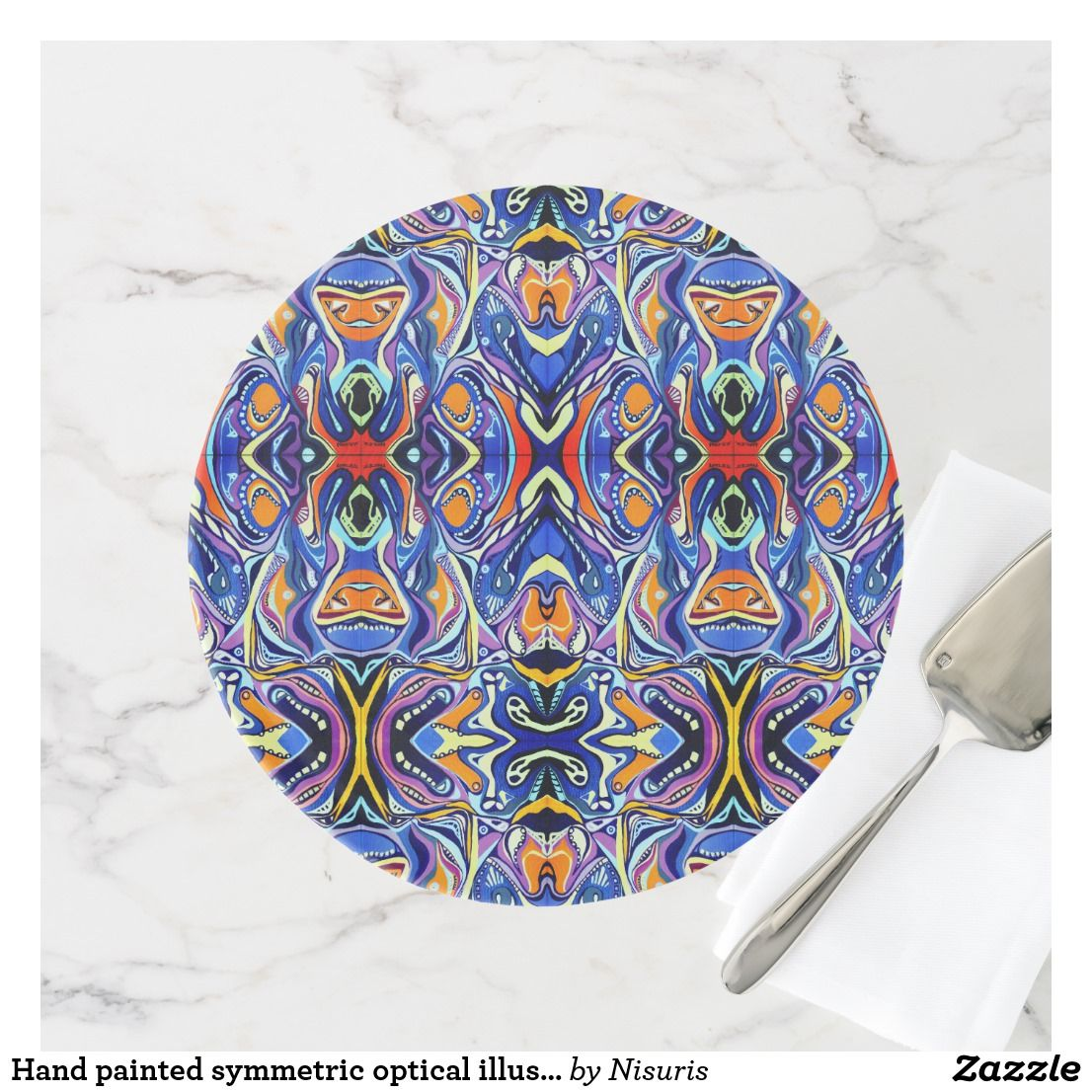 Hand Painted Folk Abstract Art Pattern Cake Stand