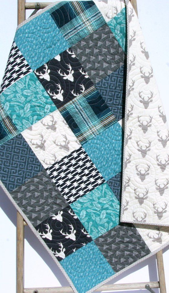 Baby Boy Quilts Woodland Quilt, Blue Deer Head Baby Bedding