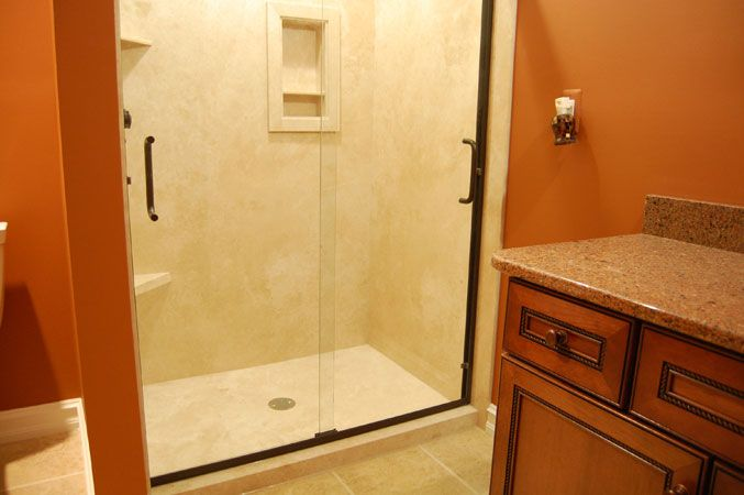 Flexstone Walls With Shower Base Can Enter From Either End Of