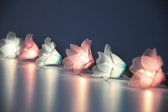 Pink Blue Flower String Lights For Patioweddingparty And