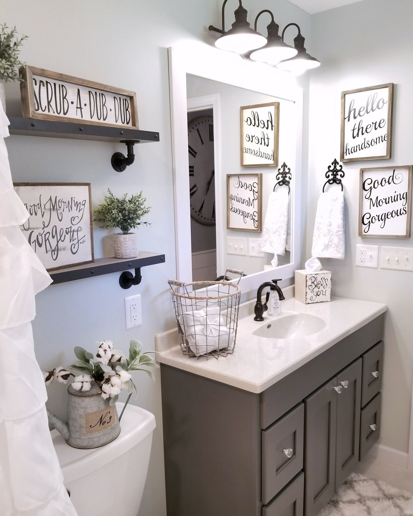 Bathroom Decorating Ideas: Farmhouse Bathroom By @blessed_ranch Farmhouse Decor