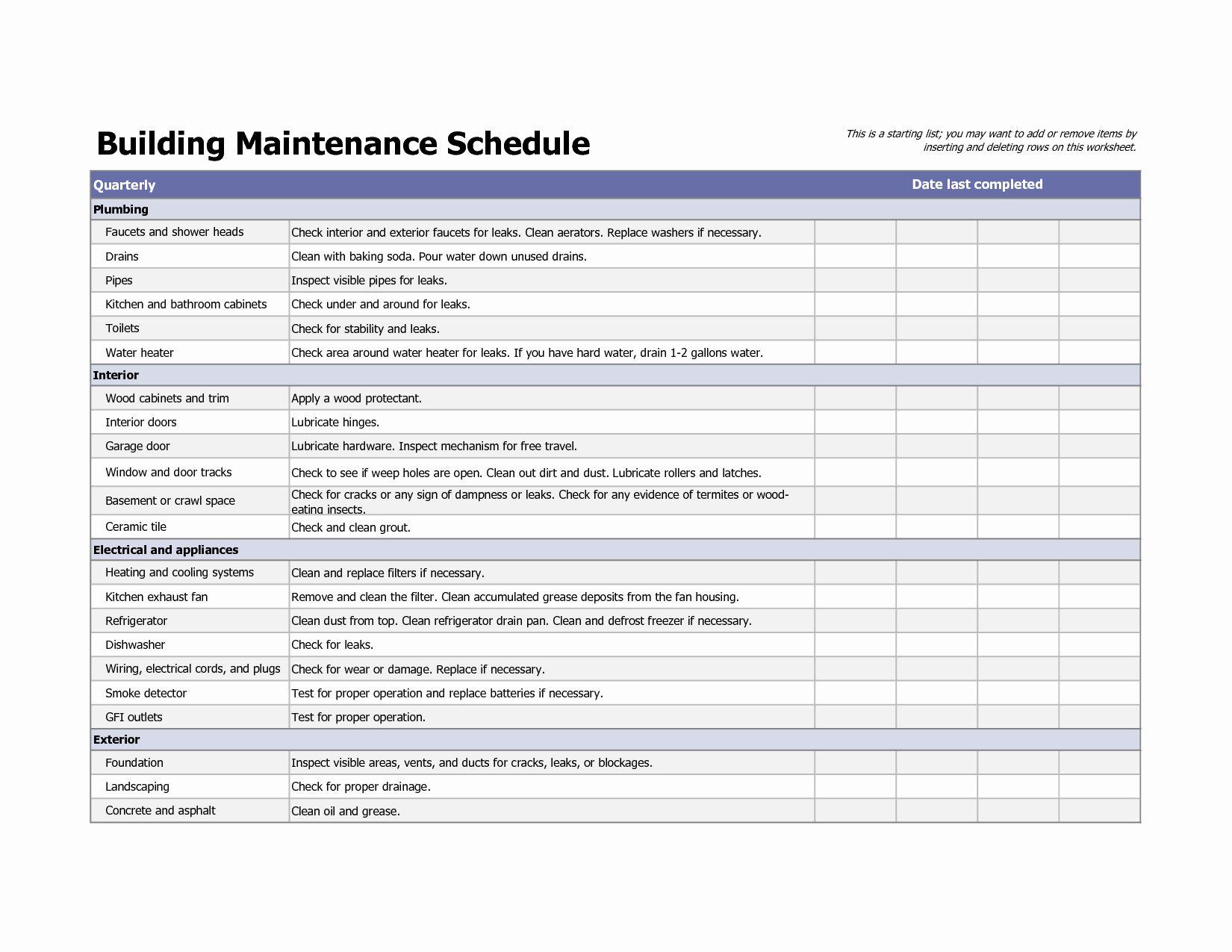Building Maintenance Schedule Template Fresh Building Maintenance Schedule Excel Template Building Maintenance Preventive Maintenance Maintenance Checklist