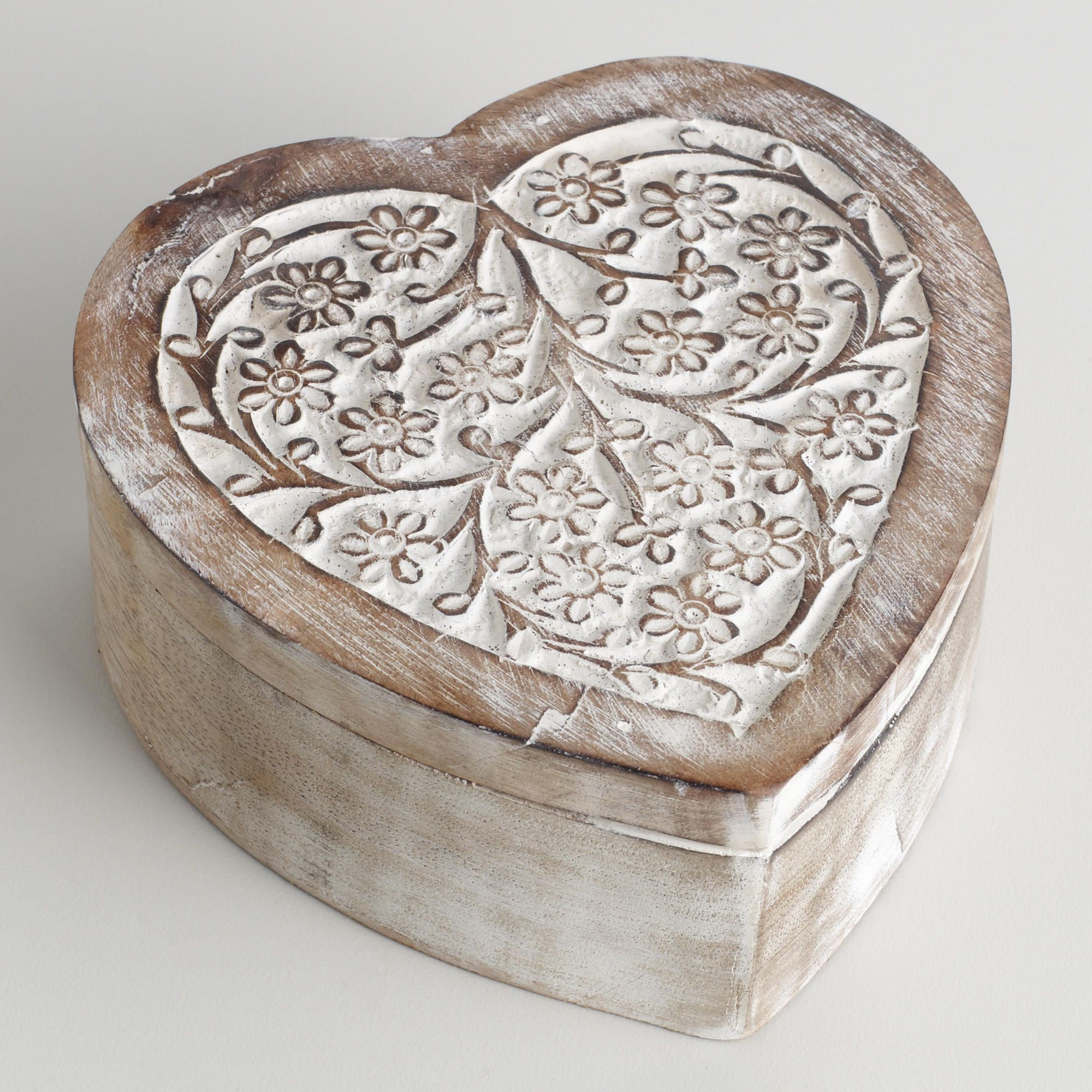 World Market Jewelry Box Amusing Whitewash Helena Heart Jewelry Box  World Market  Finishing Decorating Inspiration
