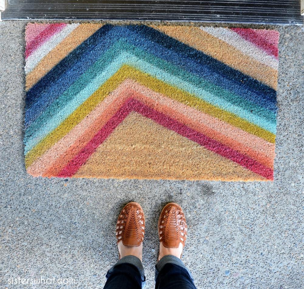 Diy Colorful Striped Door Mat Modern Doormats Joanns Fabric Crafts Diy Door